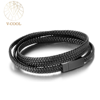 VCOOL Design Bracelet Charm Boy Genuine Leather Wrap Braided Double Layer Stingray Bracelet, Women's Men's Bracelet Bangle VB399