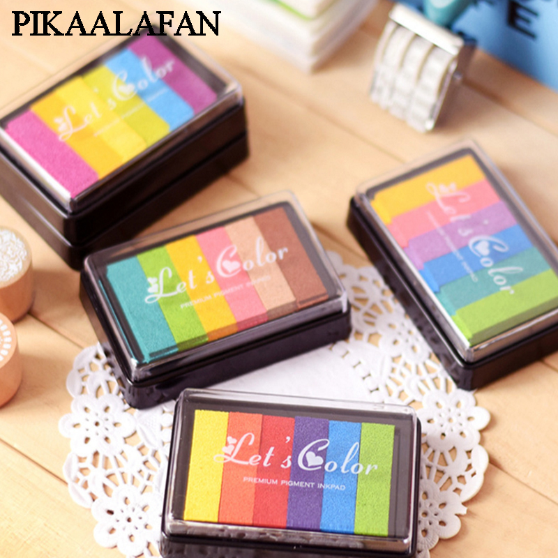 Ink-Pad Stamp Rainbow-Inkpad School-Supplies For Gradient Stationery Wood-Paper Febric