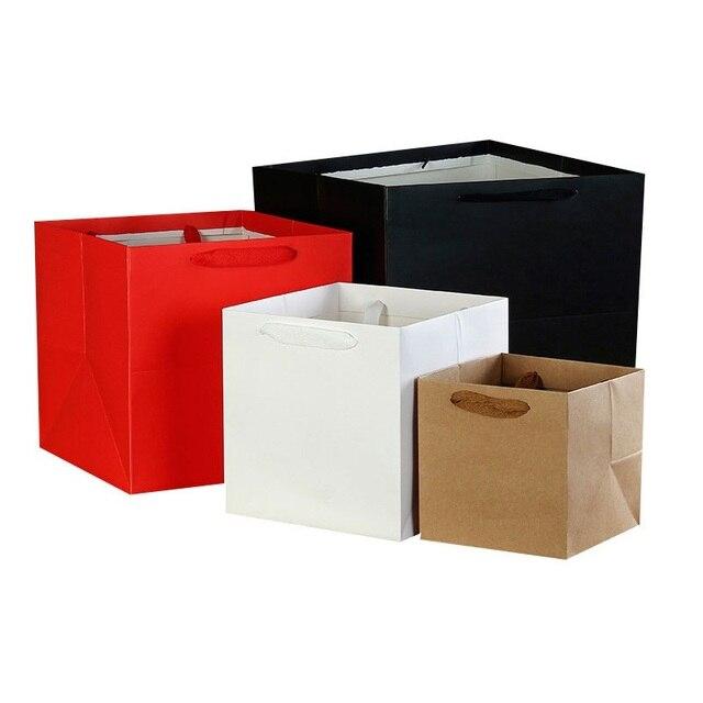 100 יח\חבילה 4 צבעים כיכר פירות פרחים אריזת שקית נייר עם ידית כיכר תחתון קראפט שקית נייר מתנת תיק 4 גודל
