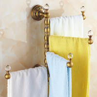 Retro Brass Carved / Crystal Towel Rack Antique Thickened Rotary Frame Towel Holder Movable 3/4 Rods Towel Bar Bathroom Product
