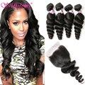 4 Bundles Brazilian Loose Wave With Closure 7A Brazilian Virgin Hair With Closure Silkylong Human Hair Lace Closure With Bundles
