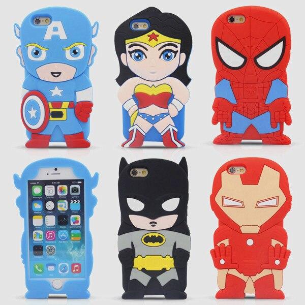 "Cute Cartoon Super Heroes Batman <font><b>Spider</b></font> <font><b>Man</b></font> Captain America Iron <font><b>Man</b></font> Soft Silicone Rubber Back Cover <font><b>Case</b></font> For <font><b>iPhone</b></font> <font><b>6</b></font> 6S 4.7"""