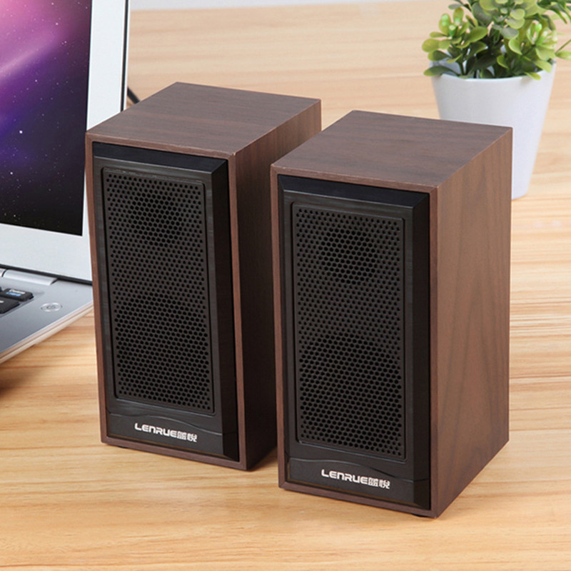 Real Brown Wood Wooden Multimedia Super bass USB speakers for PC desktop mobile