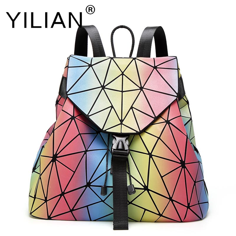 women Backpack Diamond Lattice Bag Travel Geometric Women Fashion Bag Teenage Girl School Backpack Geometric bag