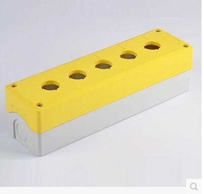 250*70*65 Emergency push button switch box, stop switch box, indicator light box 5hole  onpow 16mm red led light 1no1nc plastic emergency stop push button switch las1 by 11tsa r 12v ip40 ce ul rohs