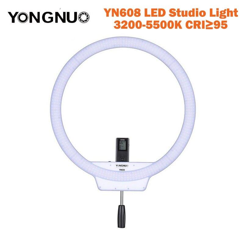 bilder für Yongnuo yn608 ring studio licht 3200 karat ~ 5500 karat bi-farbe justierbare wireless remote led-videoleuchte cri> 95 mit handgriff