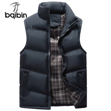 New Brand Stand Collar Men's Vests 2017 Winter Sleeveless Jackets Men Coats Solid Casual Vest Male Waistcoats Plus Size 4XL