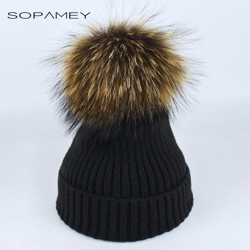 New Womens Warm Beanie Hats Winter Mink Raccoon Fur Pompom Hat Female Cap Bones High Quality Vogue Winter Caps Skullies Beanies good working original 100% new for eay63071801 eax65391401 lgp32 14pl1 power supply board 32lb5800 ug