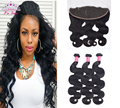 7A Grade Peruvian Body Wave 3Bundles With Frontal Peruvian Virgin Hair Lace Frontal Closure With Bundles Soft Rosa Hair Products