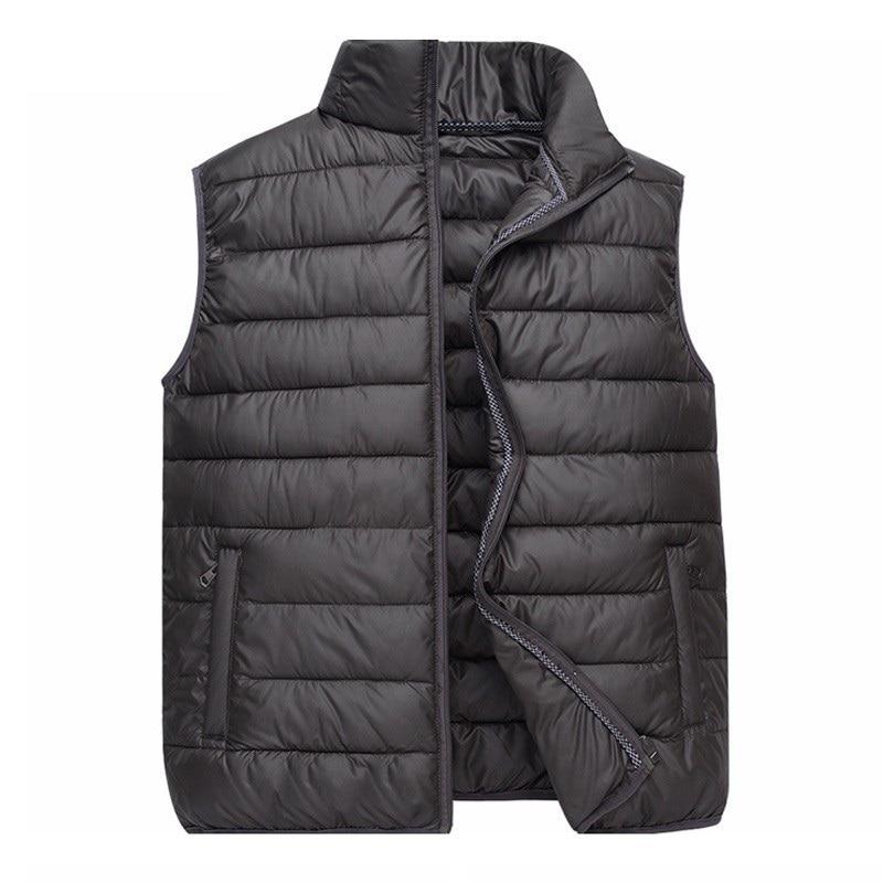2018 Autumn Winter New Men Vest Jacket Solid Color Sleeveless Waistcoat Down Jacket Coat Male Casual Cotton Vest Plus Size 4XL