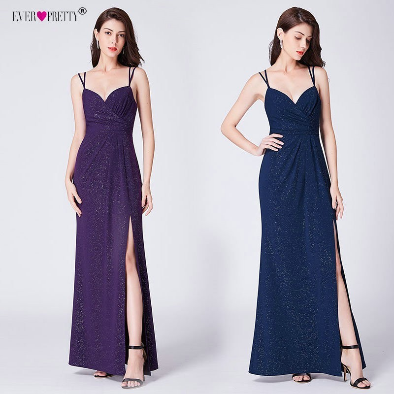 Prom     Dresses   Long Ever Pretty Women's Leg Slit Sexy Spaghetti Straps Mermaid Party   Dresses   Navy Blue   Prom   Wedding Guest Gowns