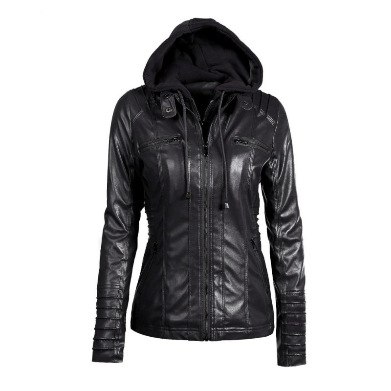 Fashion Women Leather Jacket Long-sleeved Hooded Zipper Coat Plus Size Leather Jacket ...