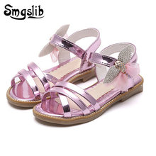 Kids Shoes Children Summer Baby Girls Flat Heels Sandals Summer Baby Girls Flat Heels Lace-up Sandals Shoes For Stage Dancing(China)
