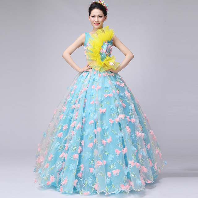 8afc4b0bc02 Brand New 2017 Blue Boat Neck Sleeveless Floor-Length Princess Prom Dresses  Solid Flowers Lace Stage Performance Gowns Vestido