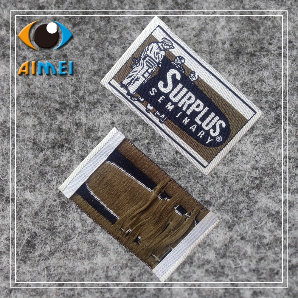 Customized With Own Logo Clothing Labels For Underwear Customize Black Garment Tags Ties Woven Label For Zipper Puller Mark