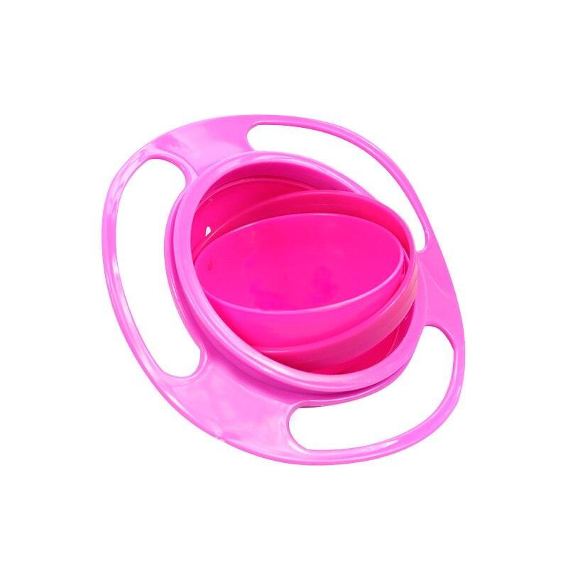 Универсальная миска для кормления детей с гироскопом, практичный дизайн, Детская вращающаяся миска для баланса, новинка, пищевая посуда, вращающаяся на 360 градусов, непроливающаяся миска - Цвет: rose red