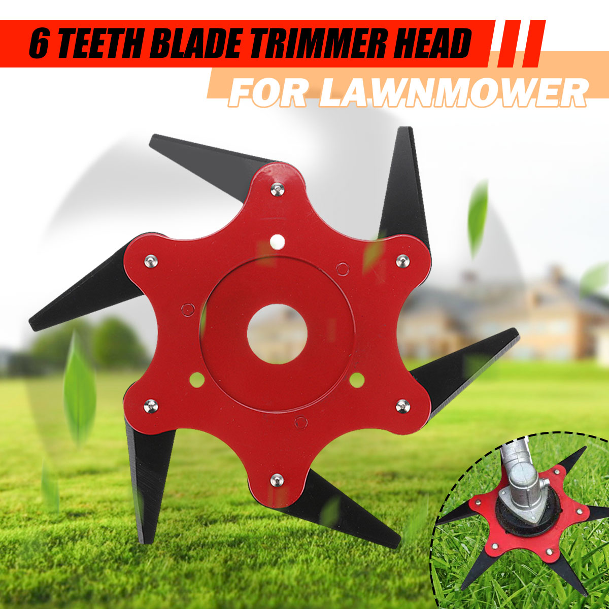Updated Trimmer Head 65Mn 6 Teeths Blade Trimmer Head Brush Cutter Blade For Lawnmower
