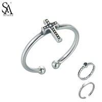 SA SILVERAGE Real 925 Sterling Silver Vintage Rings Resizable