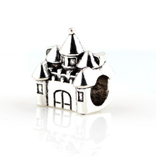 10pcs Silver Alloy Beads Fairytale Castle Shape bead DIY Big Hole Metal Spacer Murano Bead Charm Fit For Charms Bracelet
