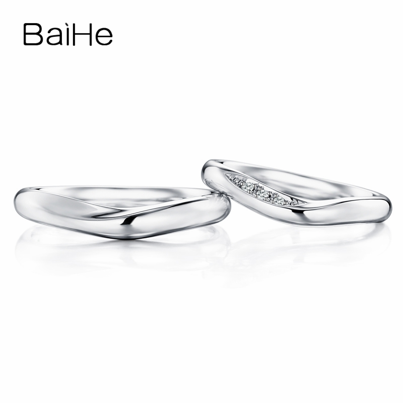BAIHE Solid 18K White Gold 0.03ct Certified H/SI Round 100% Genuine Natural Diamond Engagement Women Trendy Jewelry Couple Ring BAIHE Solid 18K White Gold 0.03ct Certified H/SI Round 100% Genuine Natural Diamond Engagement Women Trendy Jewelry Couple Ring