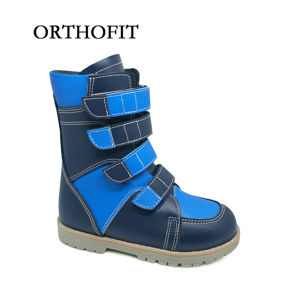 42b1feed38 Boys closed cow split leather club foot flat feet shoes kids warm orthopedic  boots shoes with removable arch support insole-in Boots from Mother & Kids  on ...