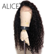 ALICE Pre Plucked Full Lace Human Hair Wigs 130% Density Glueless Curly Wigs Brazilian Remy Hair Full Lace Wigs Bleached Knots(China)