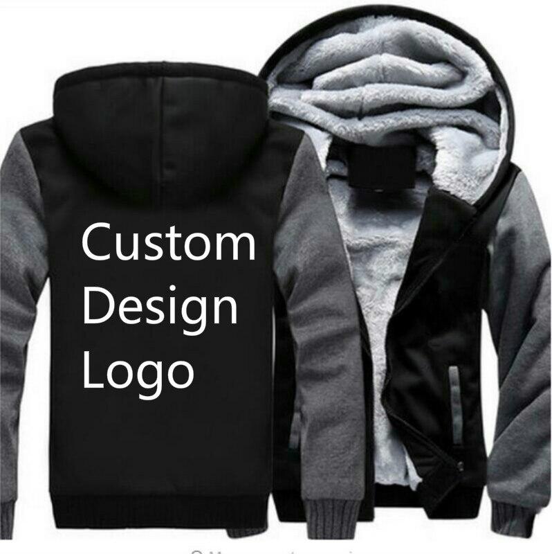 e8cc2b75c Custom Design Logo Mens Fashion Velvet Thicken Hooded Sweatshirts Winter  Cardigan Jacket Print Hoodies Jacket Coat