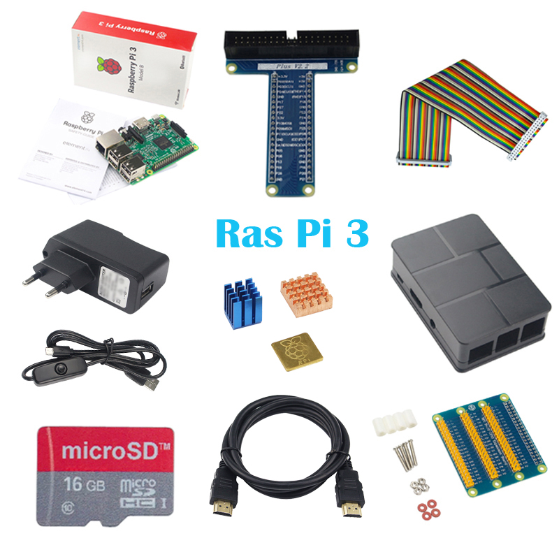 10 in 1 Raspberry Pi 3+ABS Case+8GB 16G SD Card+GPIO Adapter+Heat Sink+HDMI Cable+2.5A Power Adapter with Switch Cable for Pi 3 hot raspberry pi 3 model b abs box case cooling fan hdmi cable 16g sd card 3pcs heat sink 5v2 5a power adapter gpio board