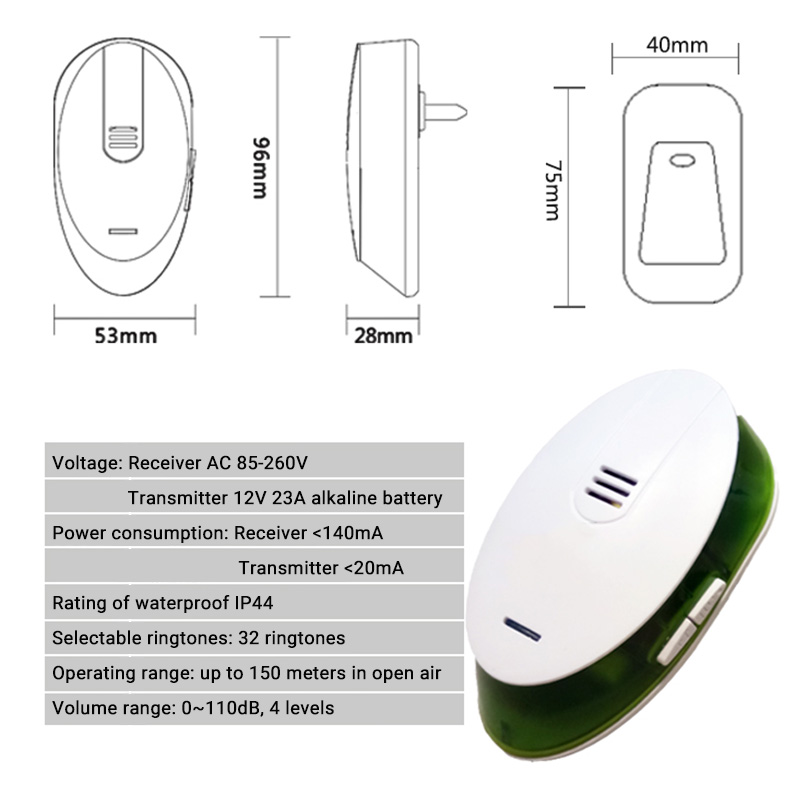 Image 3 - Office Home Wireless Door Bell 220V Cordless Ding Dong Door Chime EU Plug 1 Plug in Receiver 1 Push Button TransmitterDoorbell   -