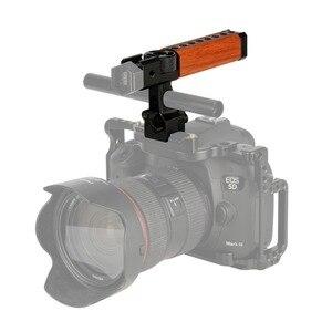 """Image 4 - NICEYRIG Camera drewniany uchwyt górny uchwyt kamery z uchwytem drewniana górna uchwyt rękojeści ser NATO 15mm zacisk pręta zimny but 1/4 """"3/8"""" śruba"""