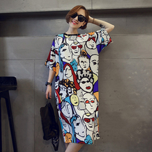 women dress 2016 new style cotton cartoon print long t shirt dress summer casual loose robe maxi party tshirt dresses xxxl