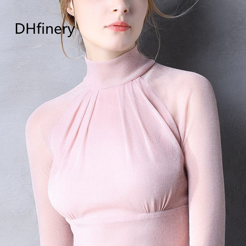 Women's Clothing Dhfinery Elasticity Lace T Shirt Women Spring Autumn Flare Sleeve Turtleneck Slim Tshirt Black White Elegant Tops S-3xl Sg27393 Tops & Tees