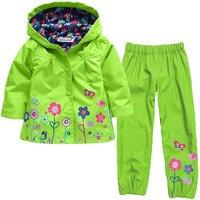 Girls Clothing Set New Autumn Flower Pattern Kids Clothes Girls Clothes Sets Raincoat Pant 2Pcs Casual