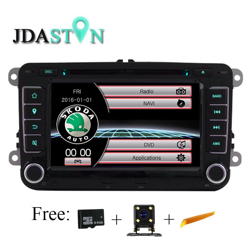 JDASTON 7 Car Multimedia player automotivo GPS Autoradio 2 Din For Skoda Octavia Fabia Rapid Yeti Superb VW Seat car dvd player
