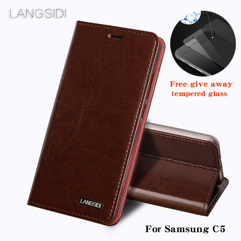 Luxury For Samsung C5 phone case Oil wax skin wallet flip Stand Holder Card Slots leather case to send  phone glass filmLuxury For Samsung C5 phone case Oil wax skin wallet flip Stand Holder Card Slots leather case to send  phone glass film
