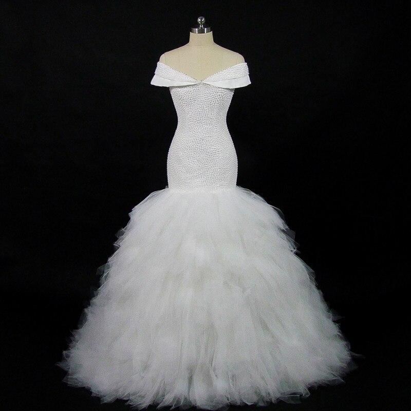 QQ amant 2019 nouveau perlage complet hors de l'épaule robes de mariée sirène taille personnalisée robe de mariée