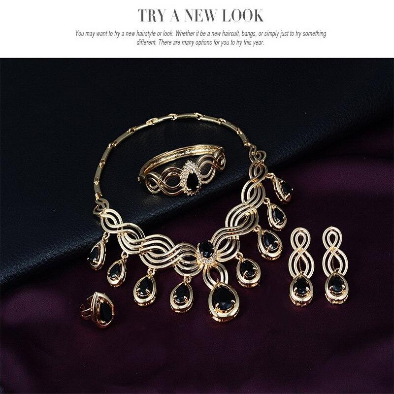 Cindiry Jewelry Sets European Style Statement Necklace Earrings Bracelet Rings font b Women b font Wedding
