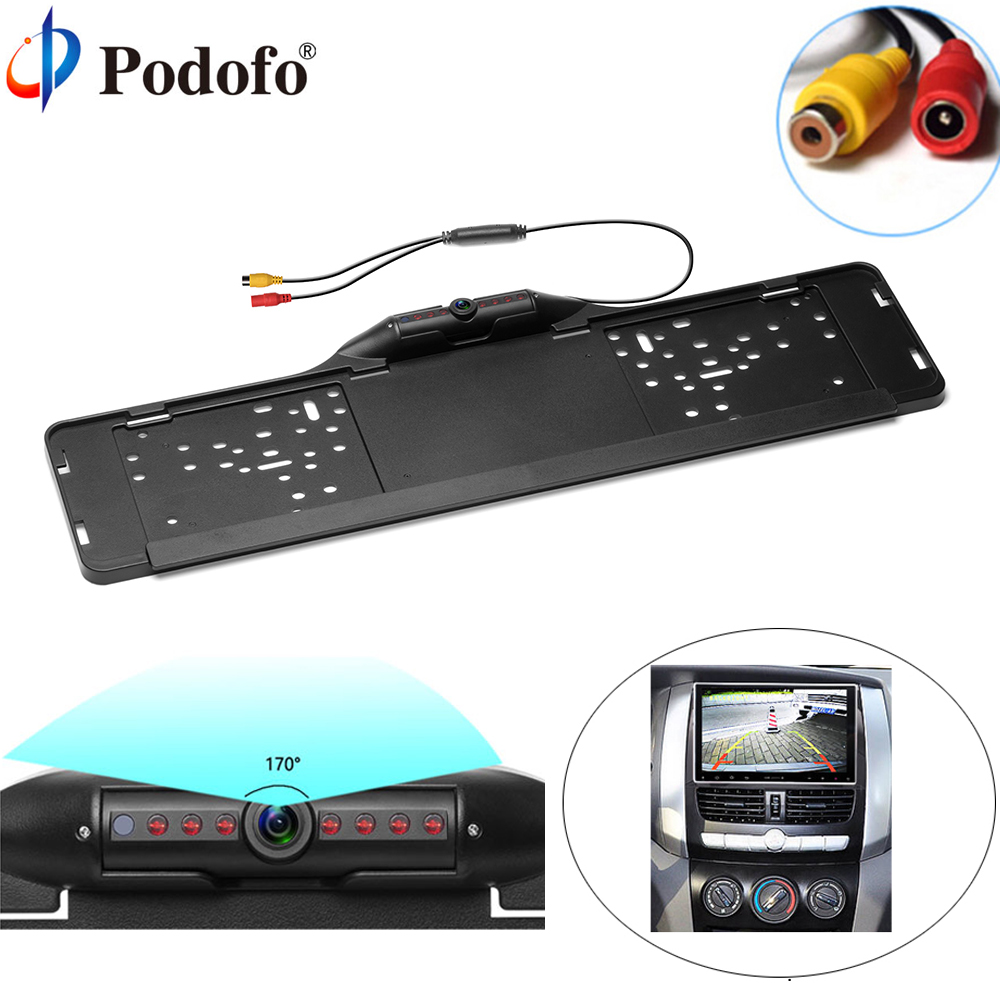 Podofo Auto EU Car License Plate Frame Rear View Camera HD Night Vision Waterproof 170 degree Car Reverse Backup Parking Assist