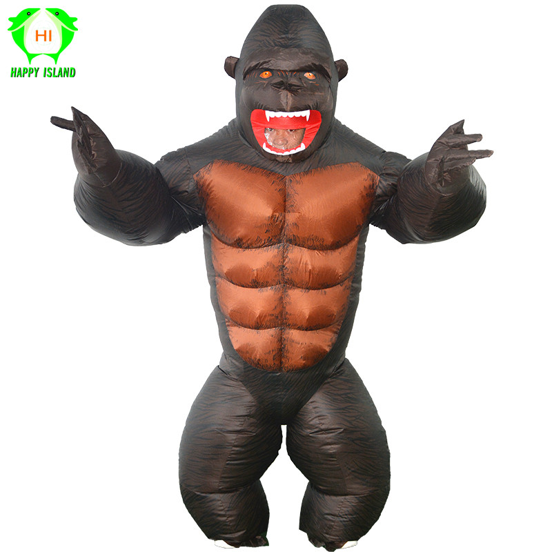 Inflatable orangutan Costume King Kong Cosplay costume Mascot Animal Monkey For Halloween Purim Carnival Fancy Dress Adult Kid