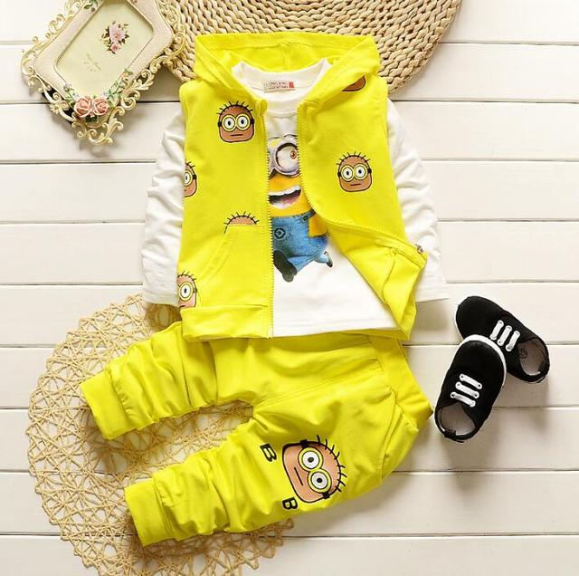 2017 Fashion Hot Sale Children's Clothes Autumn Minions 3pcs Hooded Vest T-shirt Pants Children's Clothing Set for 1--4 years