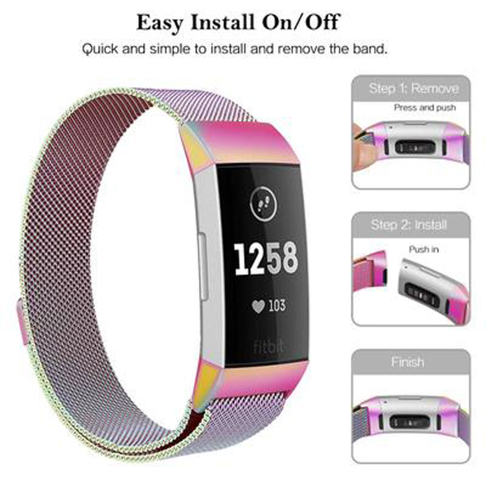Milanese loop strap For Fitbit charge 4/3 watch band smart bracelet stainless steel belt charge4 wrist band 3