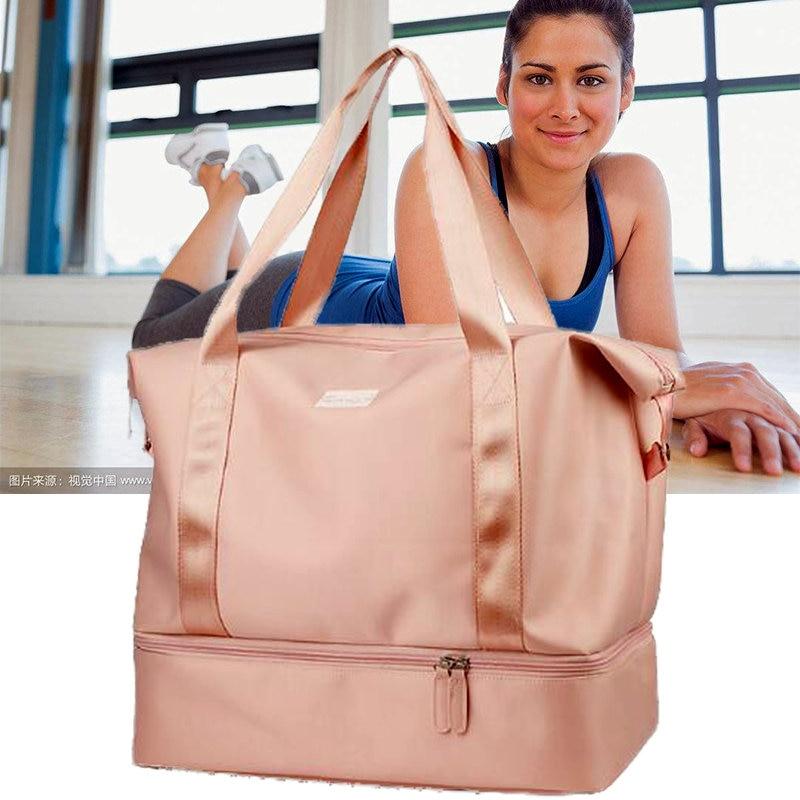 Us 22 88 44 Off Pink Gym Bag For Women Outdoor Sports Swiming Package Lightweight Fitness Weekender Wiht Shoe Luxury Handbags Designer In