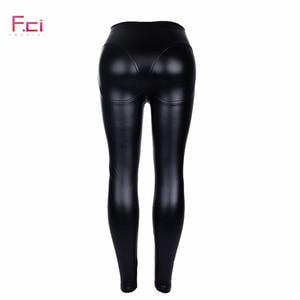 Image 5 - 2019 frauen Sexy PU leder Leggings mit Front Zipper Hohe Taille Push Up Faux Leder Hosen Latex Gummi Hosen Leggings