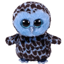 "Pyoopeo Ty Boos 10"" 25cm Yago the Blue Owl Plush Medium Soft Big-eyed Stuffed Animal Collection Doll Toy with Heart Tag(China)"