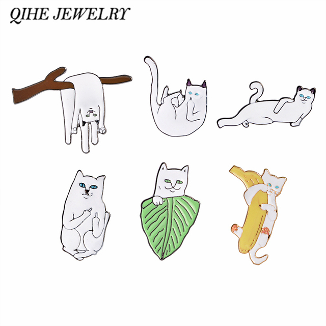 QIHE JEWELRY Cartoon Funny White Cat on Branch Pins Broochs Cat Lover Gift For G
