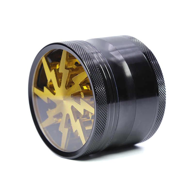 Aluminium 63mm młynek do tytoniu błyskawica w kształcie 4 warstwy piękne zioło ziołowa kruszarka do przypraw fajka akcesoria młynek