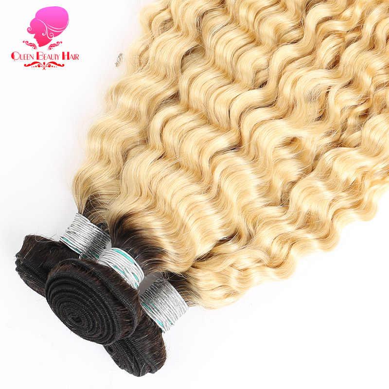 Koningin 1B 613 Russische Blonde Kleur Peruaanse Haar Diepe Golf 3/4 Bundels Met Sluiting Ombre Remy Human Haar Met 4X4 Vetersluiting