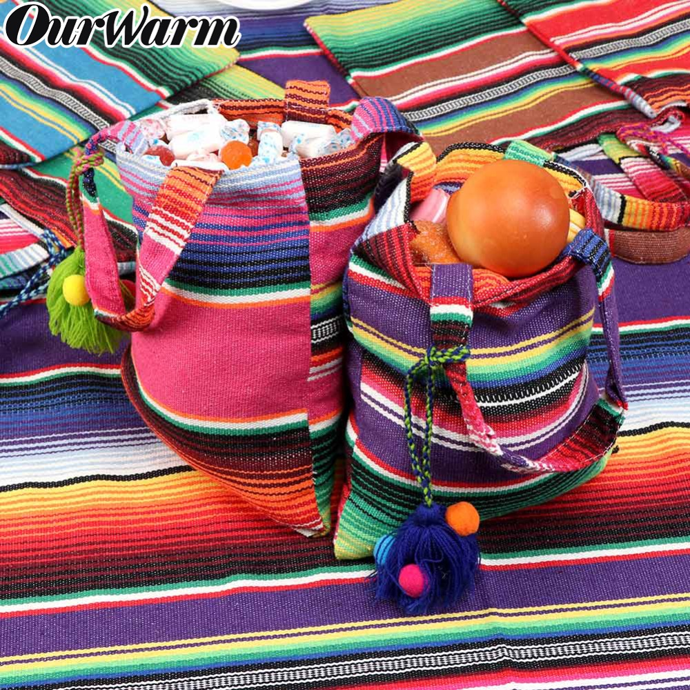 79cf5315111 OurWarm 6pcs Wedding Gift Bag for Guests Cotton Colorful Gift Bags with  Handles Mexican Party Favor