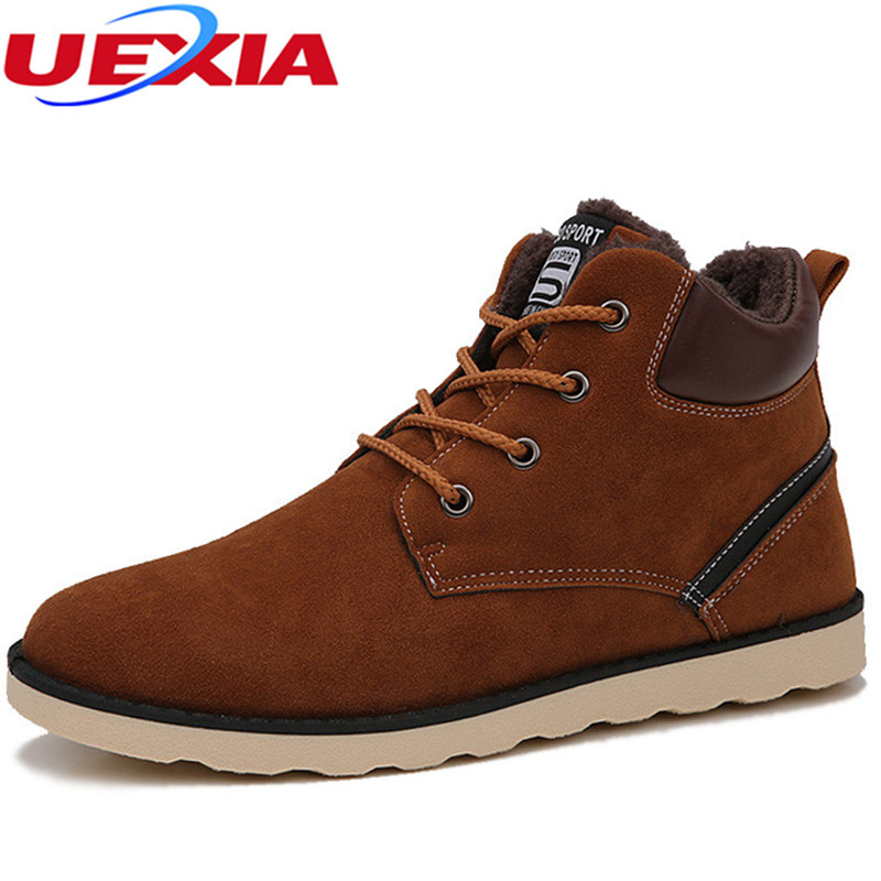 UEXIA New Fur Warm Men Winter Boots High Quality Casual Military Boots Outdoor Working Fahsion Tactical Men Boots Large Size 47