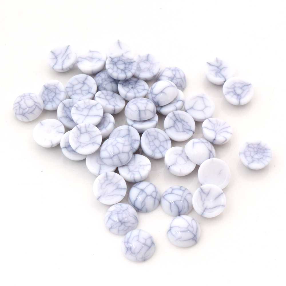 40pcs/lot 8mm 10mm White Crack Colors Natural Cracked Style Flat Back Resin Cabochons For Bracelet Earrings Accessories